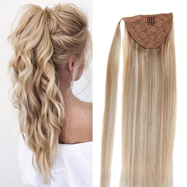 Pony Tail Human Extension Piano Highlight Ash Brown To Light