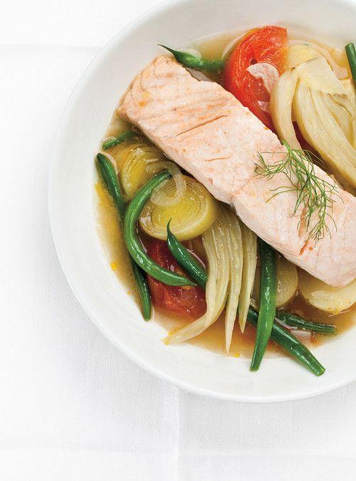 Casserole de légumes et saumon vapeur