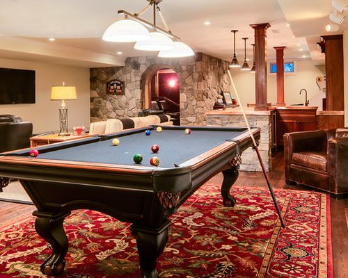 Ideas For Pool Table Room furnitureremarkable billiard pool table game room ideas with white fireplace mantel and black leather Heres How To Figure Out How Much Space Youll Need To Add A Pool Pool Table Roompool Tablesgameroom Ideasbasement