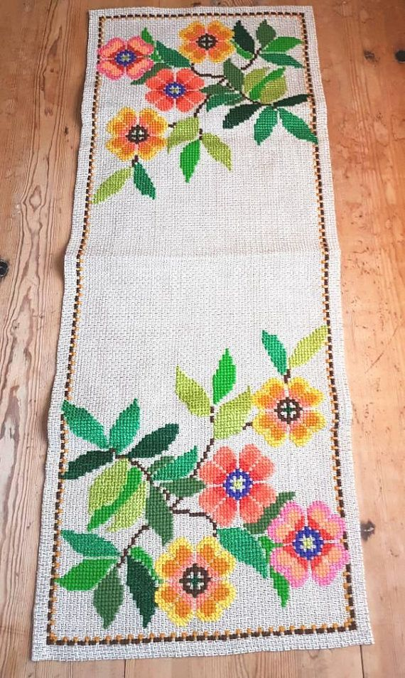 Beautiful / floral cross stitch embroidered tablerunner /