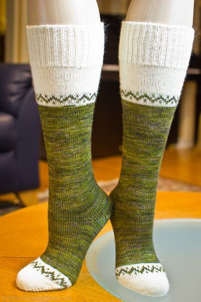 Welsh Country Sock by Nancy Bush knitted on the sock machine.