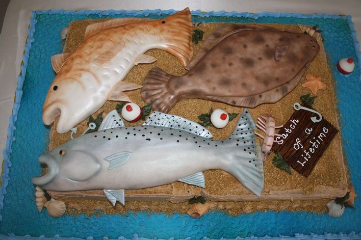 Groom's Cake - Flounder, Red Fish, Speckle Trout molded out of rice crispy treats covered with fondant.  Bobber's, Shrimp, Fish Hooks, Sea Shells all molded out of fondant.  And dusted with sparkle dust.
