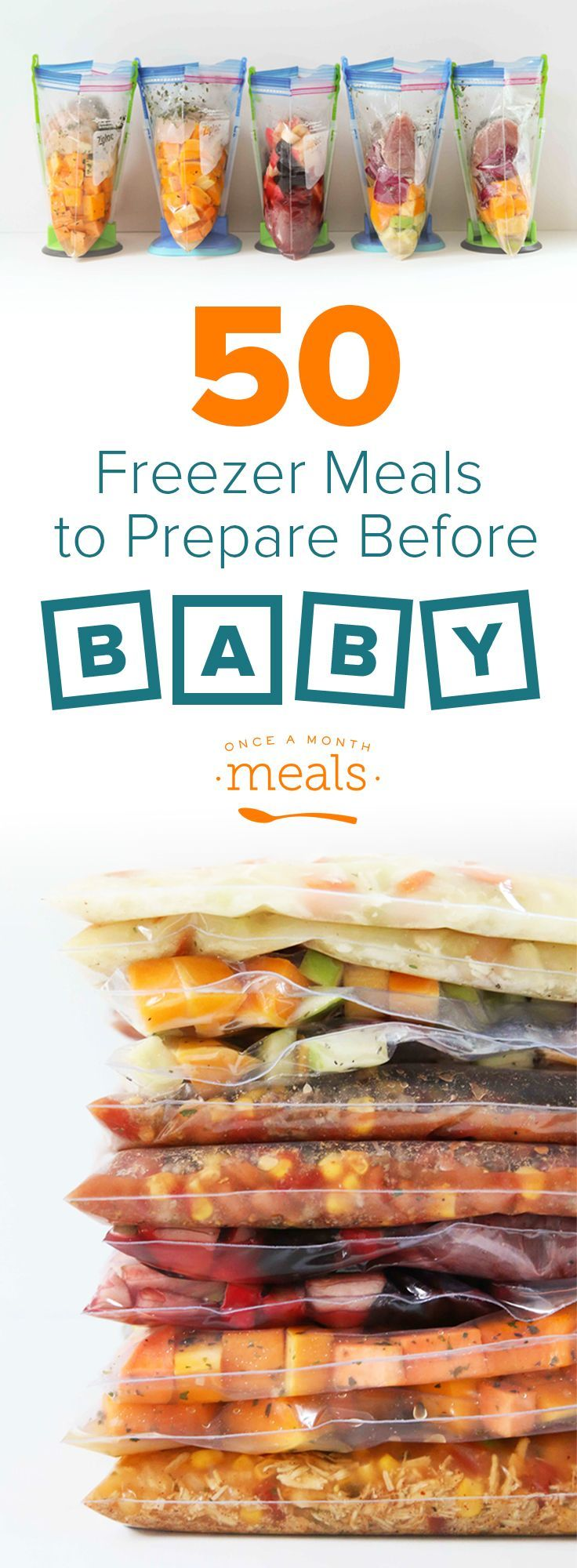 50 meals to help you stock the freezer before baby arrives! These freezer meals will save your sanity!