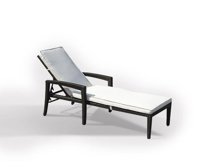 Rattan Gartenliege - Liegestuhl - Liege - Sonnenliege mit Auflage - PERUGIA