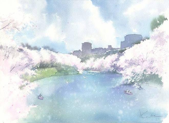 Kanta Harusaki Le Japon En Aquarelle Dessin Paysage Japon