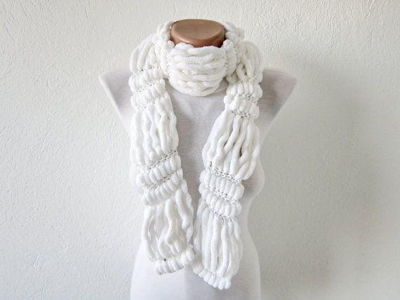 Hand knitting Long Scarf Mulberry Scarf White Pompom Fall by nurlu, $20.00