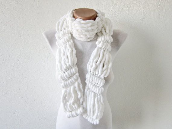 Hand knitting Long Scarf Mulberry Scarf White Pompom Fall by nurlu, $20.00