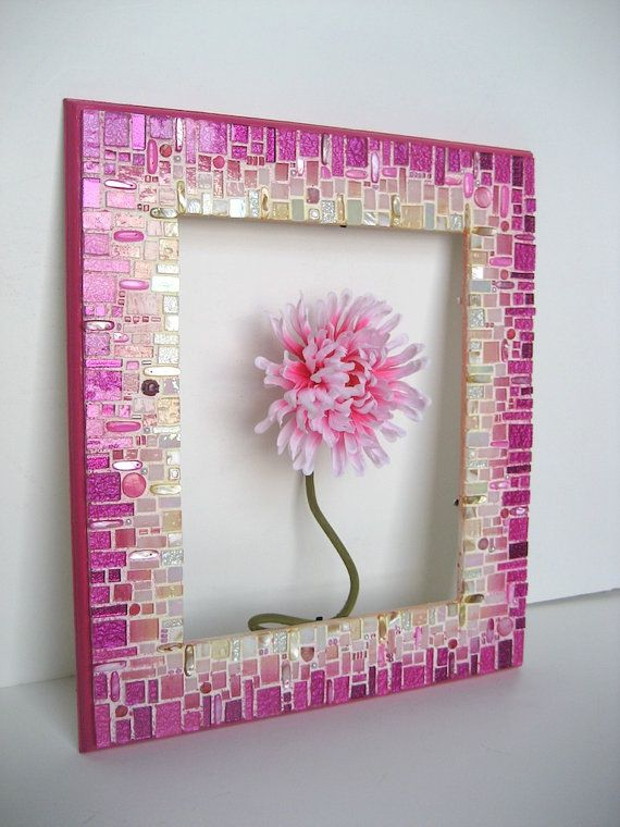 Pink Mosaic Frame/Mirror by RachaelCao on Etsy Cool idea for a frame.  Also would be cute to have a picture from our foundation with several of our girls when supporting breast cancer awareness month.  Also, a neat silent auction item at the Masquerade for a cure event since it's in October.