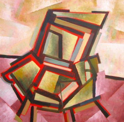 CHAIR BY: D.M. ROSS 47CM X 47CM X 3CM, Oil on Canvas, $466 An armchair