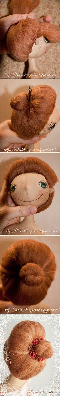 Прическа для куклы-примитива из шерсти для валяния. МК.