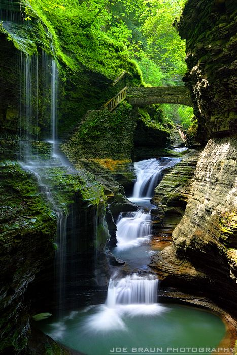 Rainbow Falls, Watkins Glen. The Finger Lakes region of upstate New York is a beautiful area of glacier-carved lakes, gorges, and glens. While the region remains just under the national tourism radar, this is a wonderful area to hike and sightsee. From the famous state parks like Watkins Glen and Letchworth State Park to all of the gorges in the greater Ithaca area, many beautiful waterfalls are waiting to be seen!