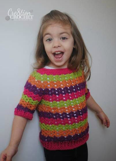 free crochet pattern toddler girls ribbed shell tee