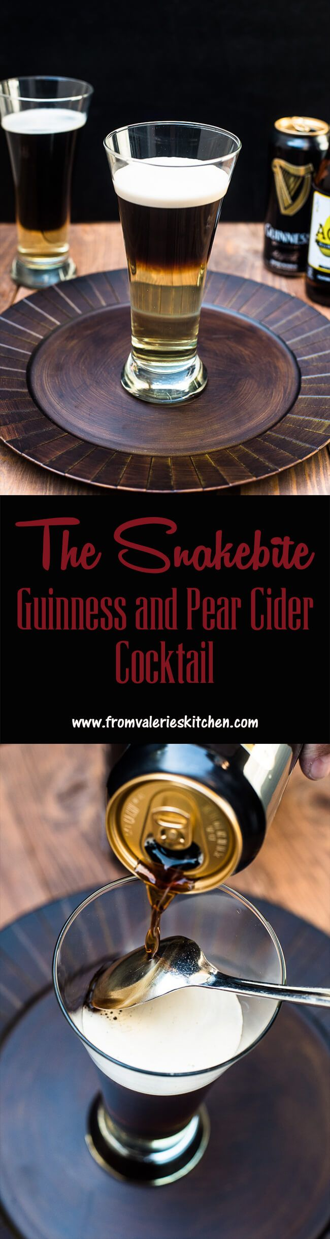 A layered beer cocktail made with Guinness and Pear Cider. Easy to make once you learn the clever layering technique! ~ http://www.fromvalerieskitchen.com