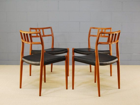 Set Of 4 Danish Teak Dining Chairs Moller 79 By MadsenModern, $1795.00