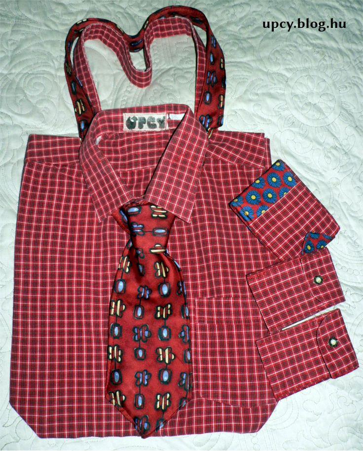 Bagging Zak and Kravallet - upcycled shirt bag, card holder and wallet.  Charity project. Továbbhasznosítás - ingtáska, kártyatartó és nyakkendő pénztárca.A Kössünk Össze jótékonysági vásárra készült.