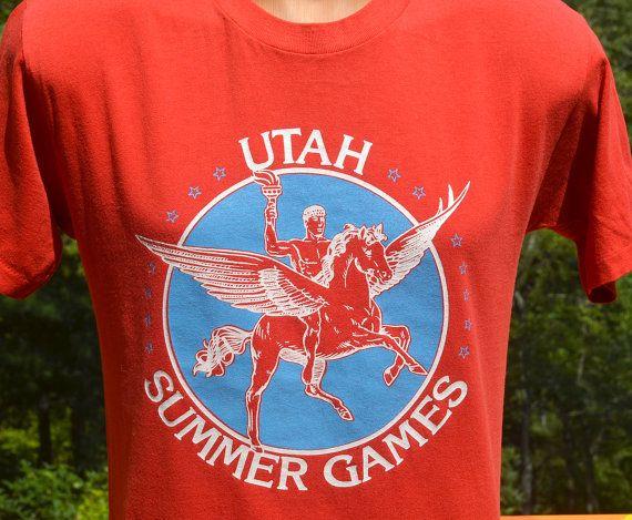 vintage 80's t-shirt UTAH summer games olympics pegasus tee Medium soft by skippyhaha, $22.00