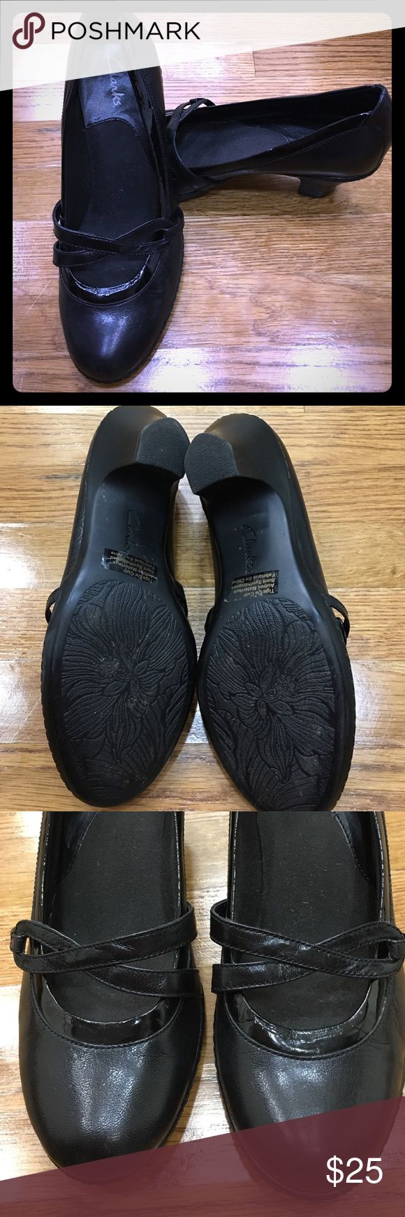 """Clark's ladies shoes Clark's ladies shoes leather in prelove condition with no problem. Size 7M with 2"""" heels Clarks Shoes Heels"""
