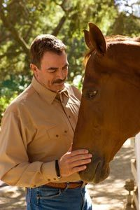 Tom Selleck & Horse - from Cowboys & Indians Magazine - October 2010 issue