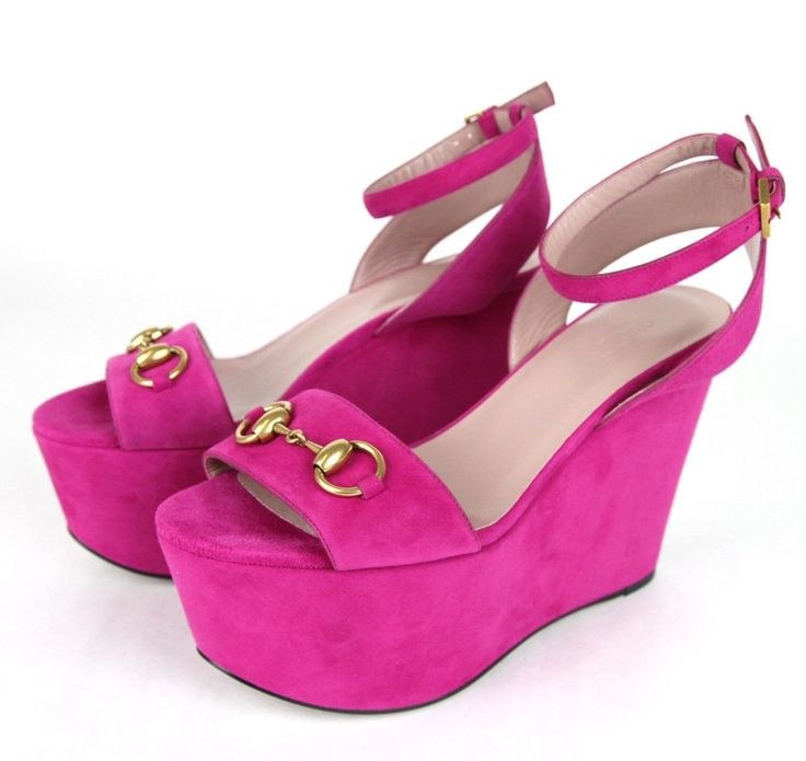 Gucci Suede Leather Wedge Horsebit Platform Sandals 338959 Us 6.5