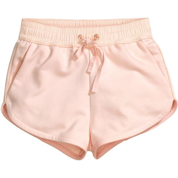 H&M Sweatshirt shorts (€8,84) ❤ liked on Polyvore featuring shorts, bottoms, pants, pink, light pink, mini shorts, hot short shorts, h&m shorts, pink cotton shorts and hot pants