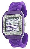 Square Face Purple Zebra Watch - $19.45 at The Purple Store