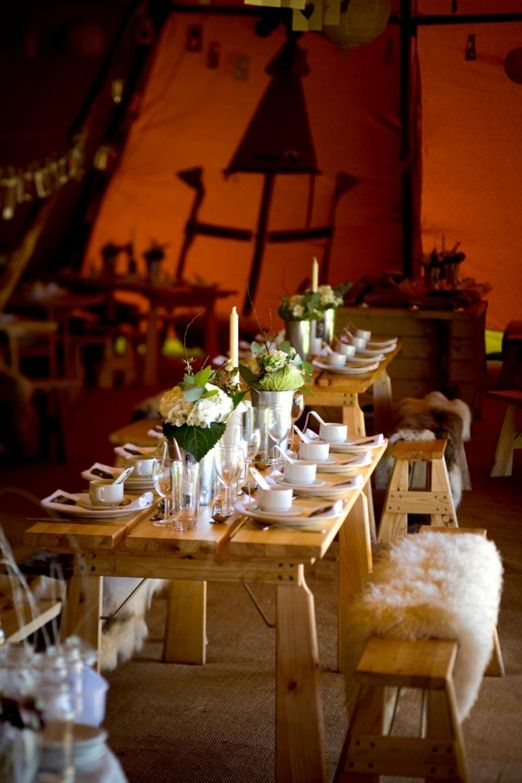 World Inspired Tents sheepskin benches