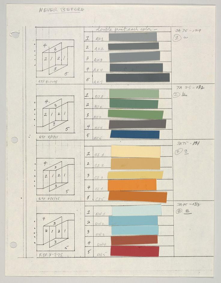 Josef Albers, Color sheets and layout of the Never Before series, 1976