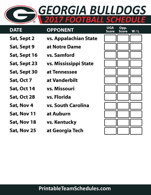 2017 Georgia Bulldogs   Football Printable Schedule