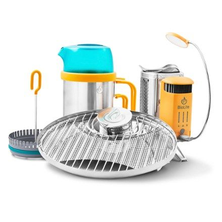At a great value, the BioLite CampStove 2 EX bundle includes the award-winning CampStove 2, a portable grill, a KettlePot, a CoffeePress and a FlexLight. Available at REI, 100% Satisfaction Guaranteed.