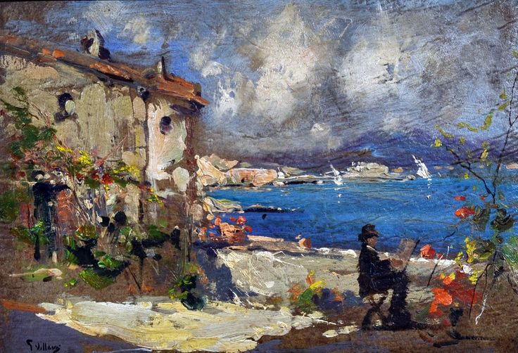 Villani Gennaro (Napoli 1885 - 1948) Il pittore al cavalletto dipingendo Napoli olio su cartone, cm 25x35