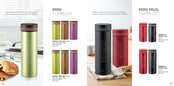 Lock n Lock Mini Tumbler Series, tipe LHC 552 / 553 / 554 kapasitas 200ml. Color: Green, brown, violet size: 67 x 147mm LHC 562 / 563 / 564 kapasitas 300ml, Color: Green, brown, violet size D: 67 x 102mm Lock & Lock Mini Mug Tumbler Series, tipe LHC 550 / LHC 551 color: Black and Red. Capacity: 200ml, Size: 67 x 147mm LHC 560 / LHC 561 color: Black and Red, capacity: 300ml, size 67 x 192mm