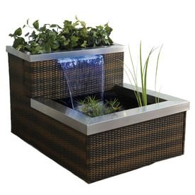 Captivating Pond Boss Patio Pond Brown Chestnut Rattan Lighted Spillway With Blue LED  Light