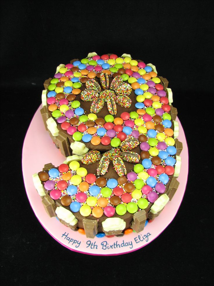 Smarties, Freddos, Freckles and Kit Kats on a chocolate number 9 cake with chocolate buttercream.