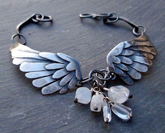 silver wings bracelet black bird singing in by ArtigianoJewelBox