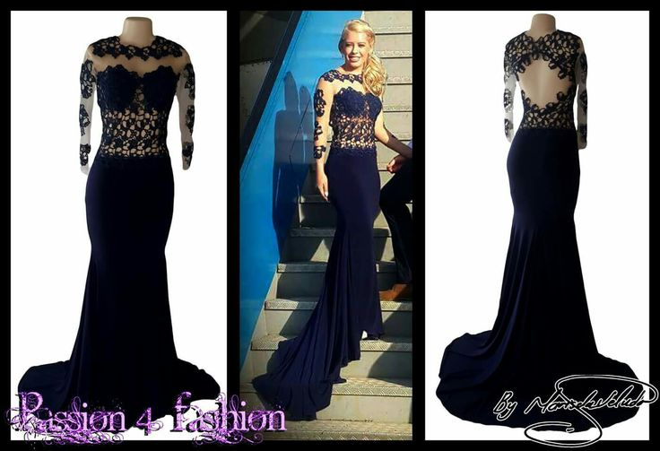 Navy blue illusion lace bodice soft mermaid dress, with a diamond shaped open back, long sheer lace sleeves and a train. #mariselaveludo #matricdance #passion4fashion #matricdress #lace #lacedress #softmermaid #promdress #eveningdress #navybluedress