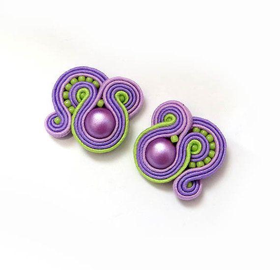 Small green purple earstuds colorul studs earrings by sutaszula