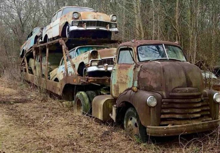 Veja imagens impressionantes desse antigo caminhão cegonha Chevrolet, 1950, que acabou ficando abandonado carregando outros quatro carros esquecidos no tempo. Saiba os detalhes desse inusitado caso.