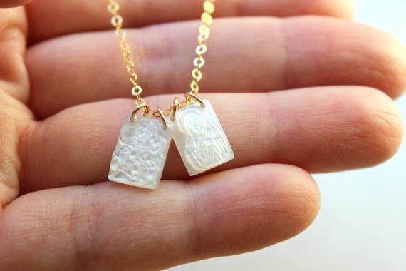 Scapular Necklace Scapular Jewelry Virgin Mary Necklace Etsy In 2021 Virgin Mary Necklace Scapular Necklace Catholic Necklace