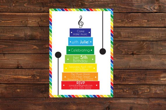 Music Birthday Party Invitation- Music Theme Invitation- Xylophone Birthday Party Invitation-Xylophone Invitation