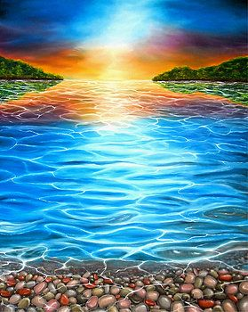 Imaginary Realism, Painting, fantasy, imagination,whimsical, mesmerizing, seascape, sea, water, sunset, sunlight, shimmering, light, stones, pebbles, rocks, coastal scene, colorful, blue, art, artwork, fine art, oil painting