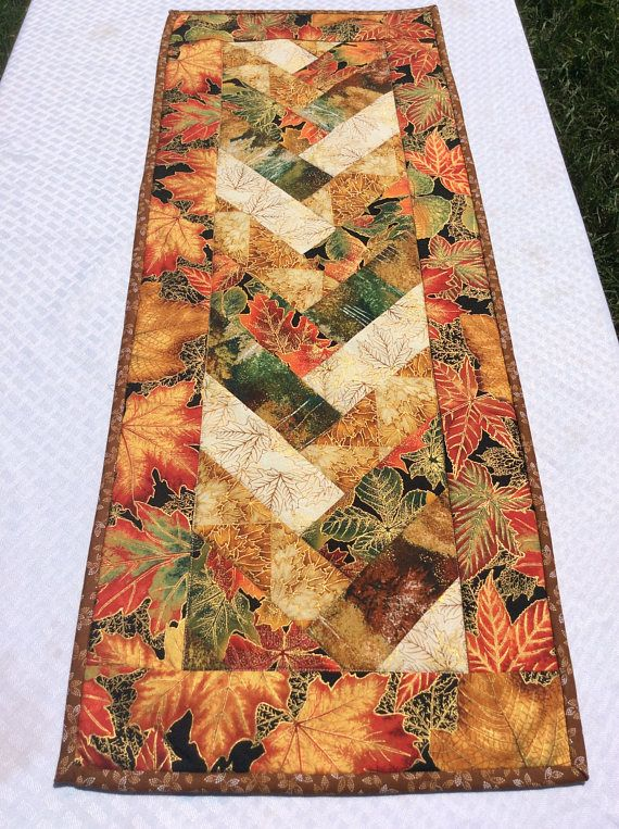 Fall Table Runner Table Topper in A Fall Autumn Harvest Color Braided Handmade Homemade Quilt Quilted