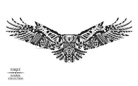 falke: stilisierten Adler. Tiersammlung. Schwarze und weiße Hand gezeichnet Doodle. Ethnische gemusterten Vektor-Illustration. Afrikanisch, indisch, Totem Tattoo-Design. Skizzieren Sie für Tattoo, Poster, drucken oder T-Shirt.