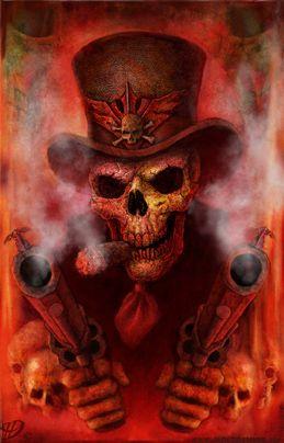 ☮ American Hippie Art ~ Skull