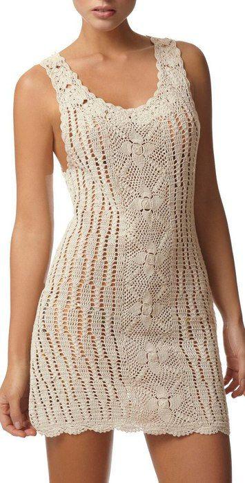 8 Beautiful Free White #Crochet Dress Patterns