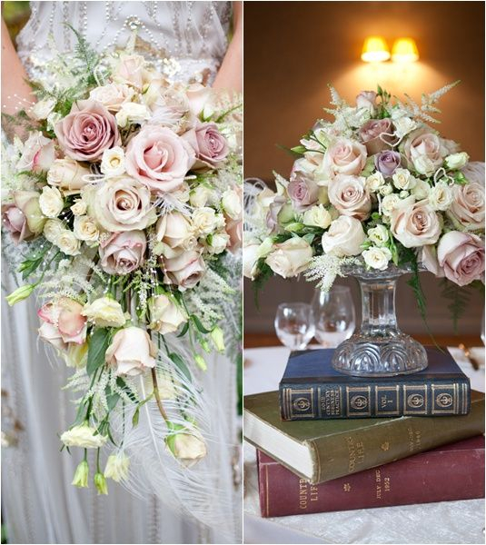 For A Vintage Style Wedding Faded Roses And Books As Centrepiece Stand