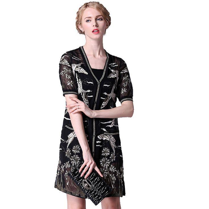 Купить Платье короткая весна лето, винтажный китайский стиль Bird вышивка черный чистой элегантный рукав платья LS348и другие товары категории Платьяв магазине Always AttractiveнаAliExpress. платье цветка и платья для гостей свадьбы