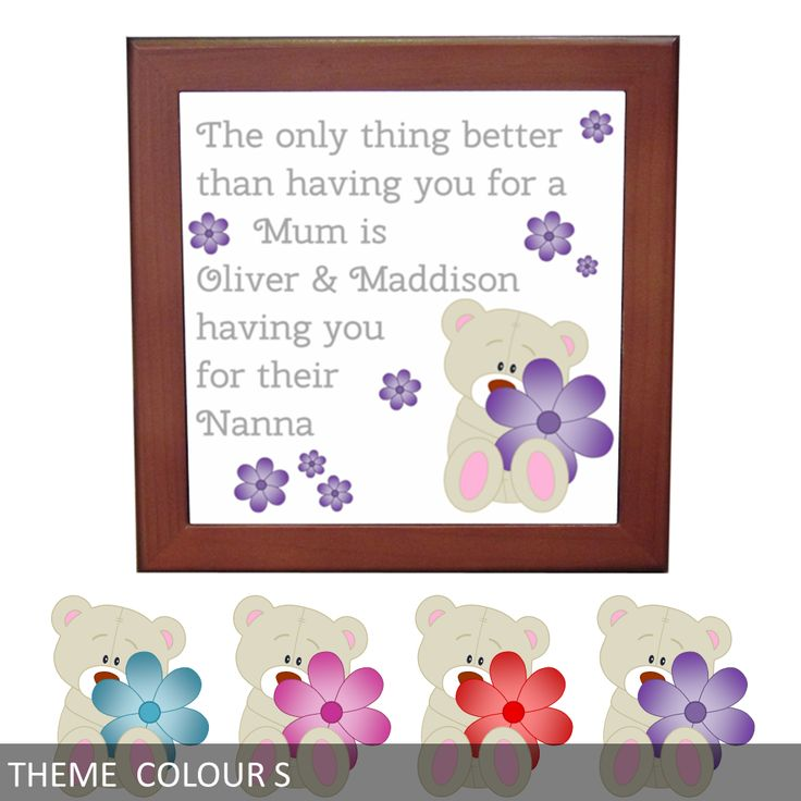 Personalised Ceramic Tile Print - Only thing better .... having you Grandma/Nanna - Teddy Bear