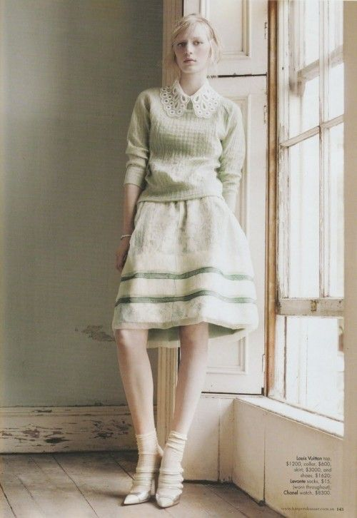 Minty pale green sweater and lovely collar on shirt