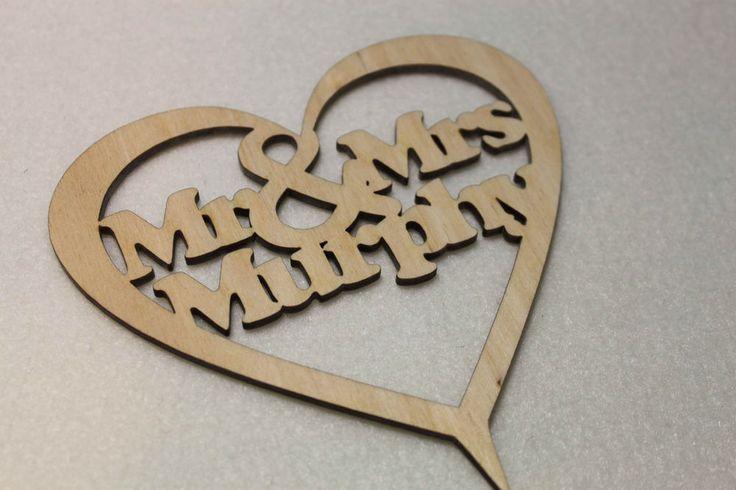 Custom  Personalised Mr & Mrs Wedding CakeTopper Wood Heart With Names Birthday | eBay