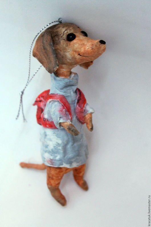 Новый год 2017 ручной работы. Ватная елочная игрушка Собака Такса. Кристина Шадрунова (kracatuk). Интернет-магазин Ярмарка Мастеров.